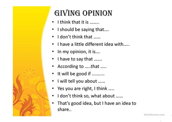 Asking & Giving Opinion