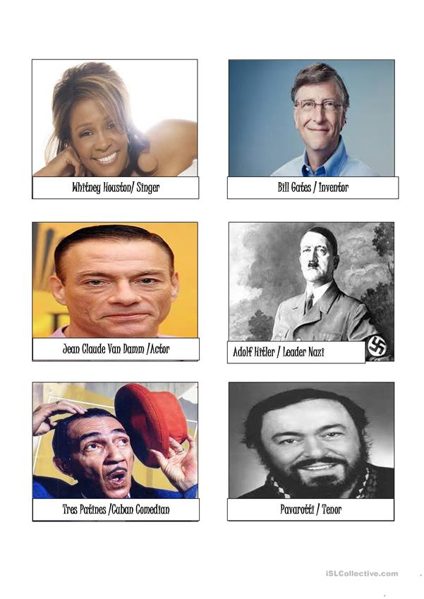 cards for describing famous people