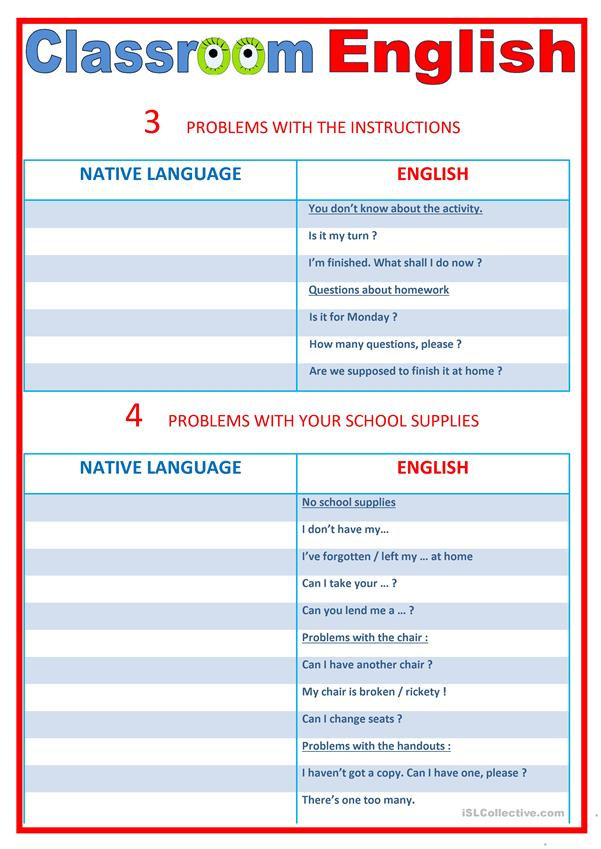 Classroom English and practice 3