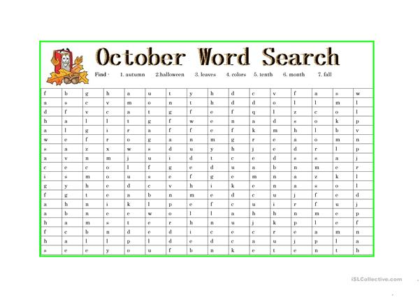 October Wordsearch