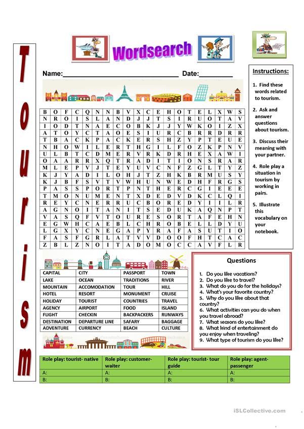 Tourism wordsearch