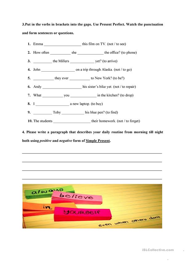 Writing Activity Fill in the Gaps