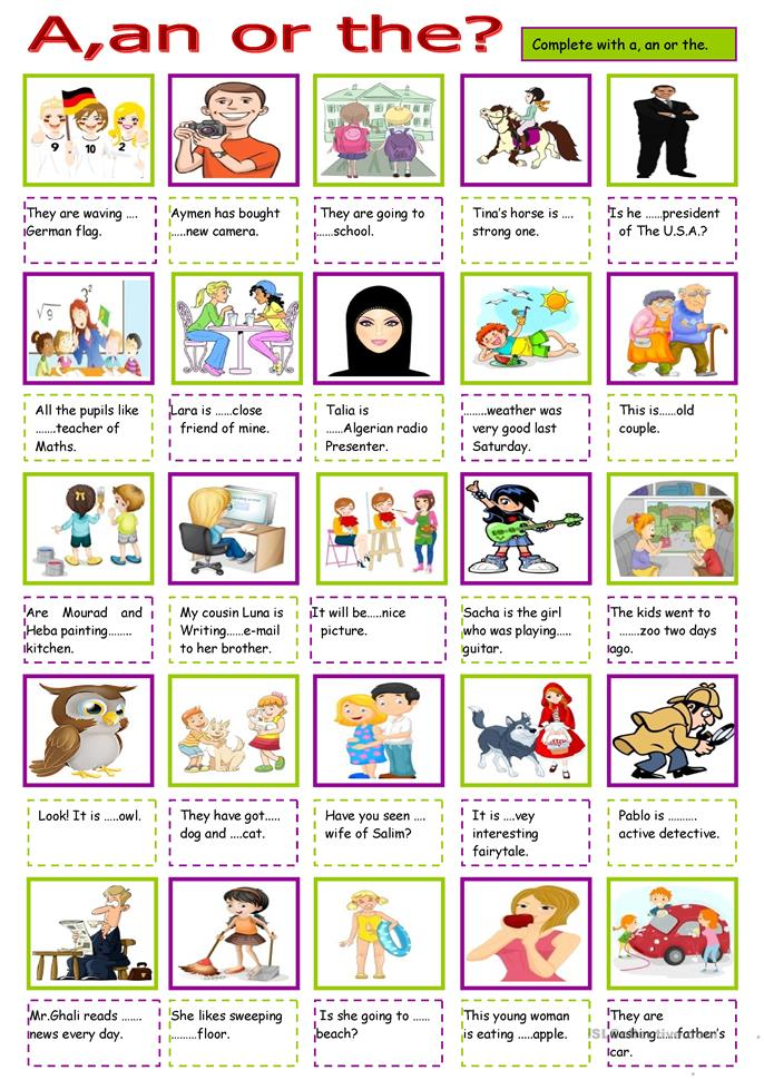 30 FREE ESL Articles: definite articles (the) worksheets