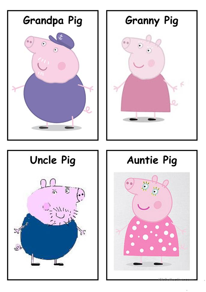 ESL / EFL Peppa Pig Family Pre-Writing Activities