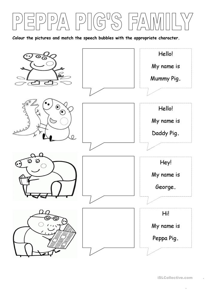 English worksheets: Parts of the body Peppa pig