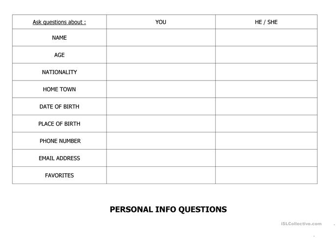personal info questions worksheet free esl printable worksheets made by teachers. Black Bedroom Furniture Sets. Home Design Ideas