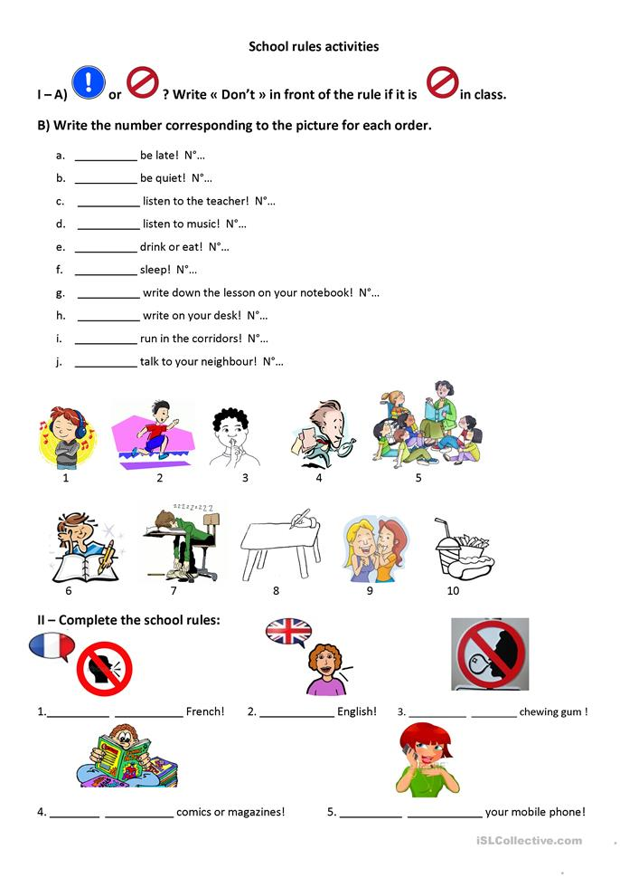School Worksheets For Teachers : School rules worksheet free esl printable worksheets