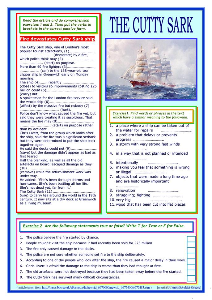 The Cutty Sark (reading + passive voice practice) worksheet - Free ESL printable worksheets made ...