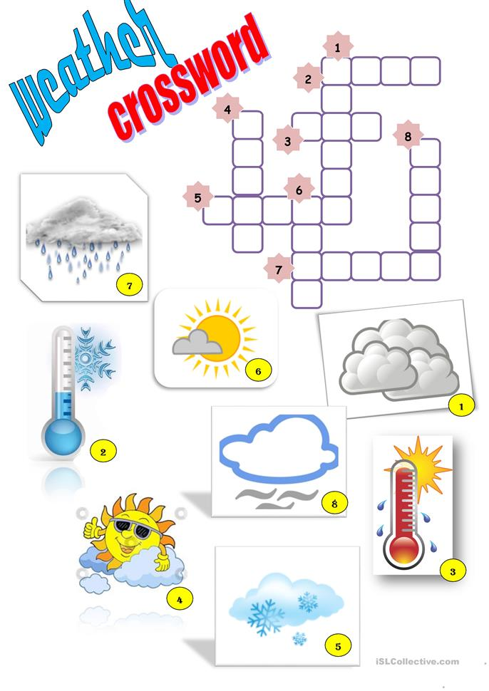 Weather, crossword worksheet - Free ESL printable worksheets made by ...