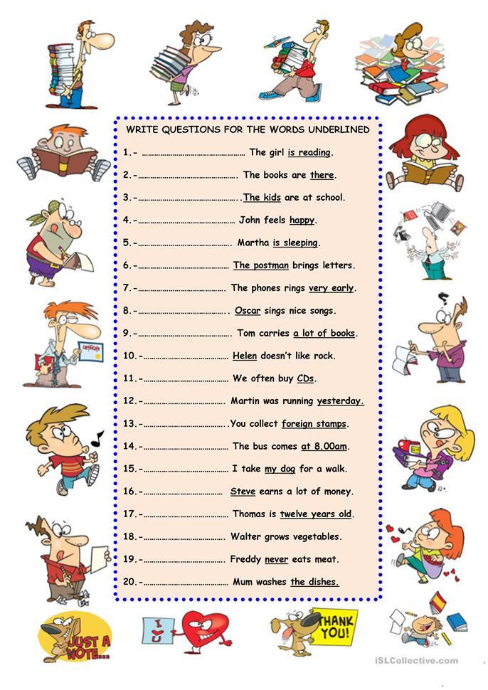 write the questions worksheet
