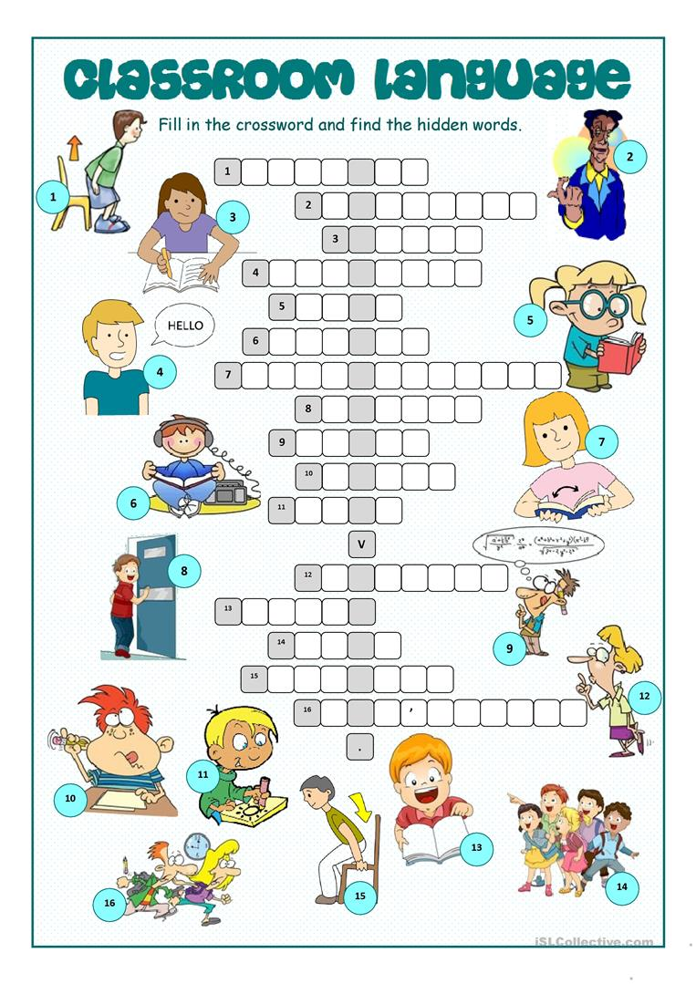 Classroom Language Crossword Puzzle worksheet - Free ESL ...