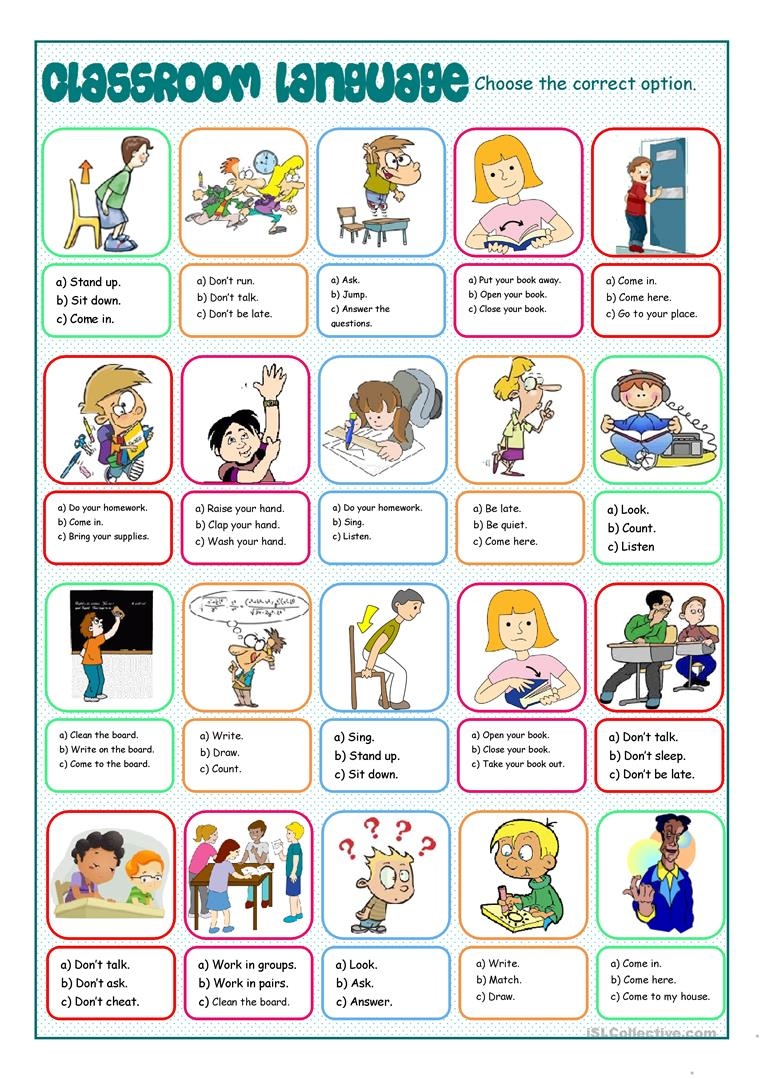 Classroom instructions, a handout (editable) esl worksheet by.