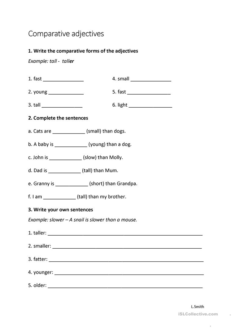 worksheet Worksheets On Comparative Adjectives comparative adjectives worksheet young learners free full screen
