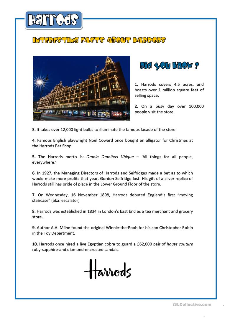 INTERESTING FACTS ABOUT HARRODS worksheet - Free ESL printable ...