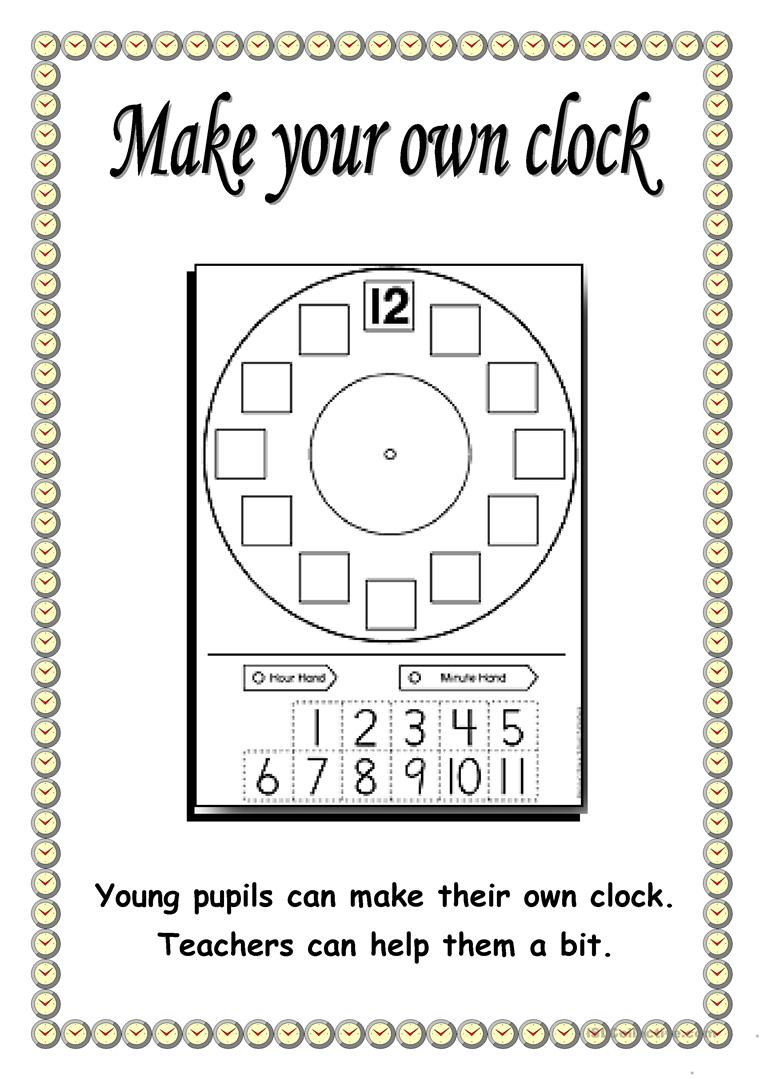Create Your Own Printable Worksheets : Make your own clock worksheet free esl printable