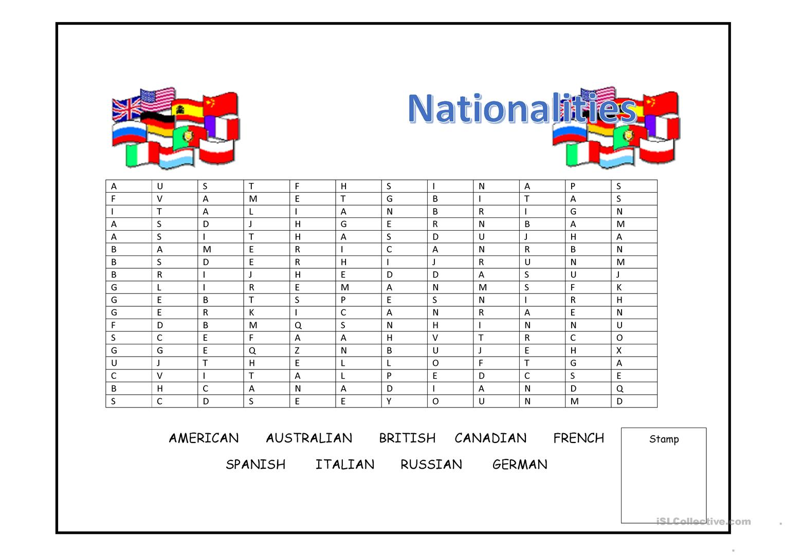 Nationalities Wordsearch worksheet - Free ESL printable worksheets ...