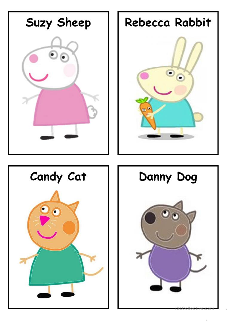 picture about Peppa Pig Character Free Printable Images called Peppa Pig - People (Fixed 3) - English ESL Worksheets