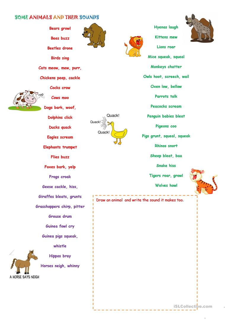 some animals and their sounds english esl worksheets. Black Bedroom Furniture Sets. Home Design Ideas