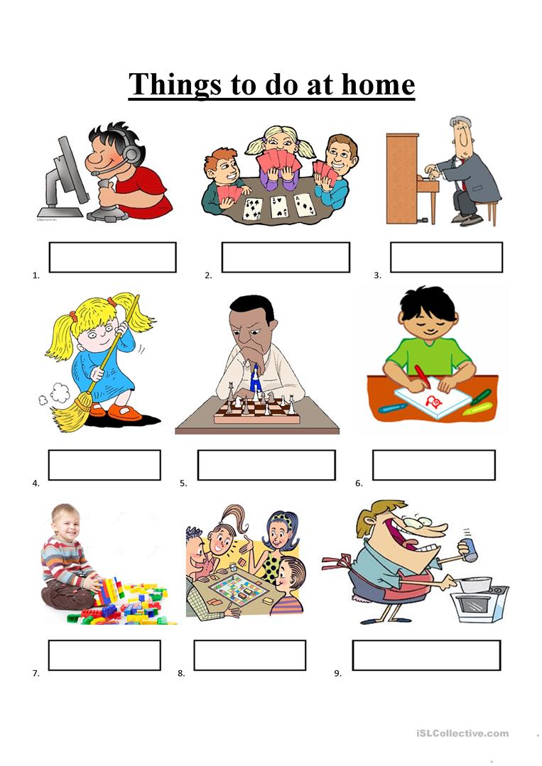 Things To Do At Home Worksheet Free Esl Printable