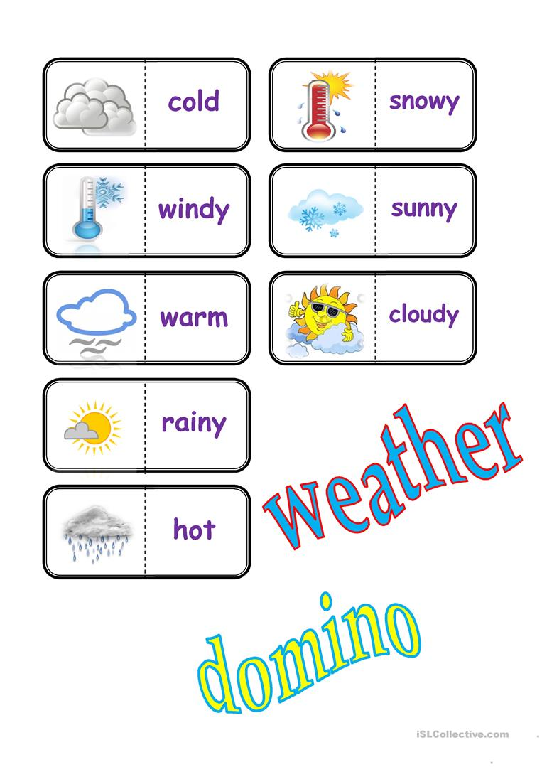 weather domino worksheet free esl printable worksheets