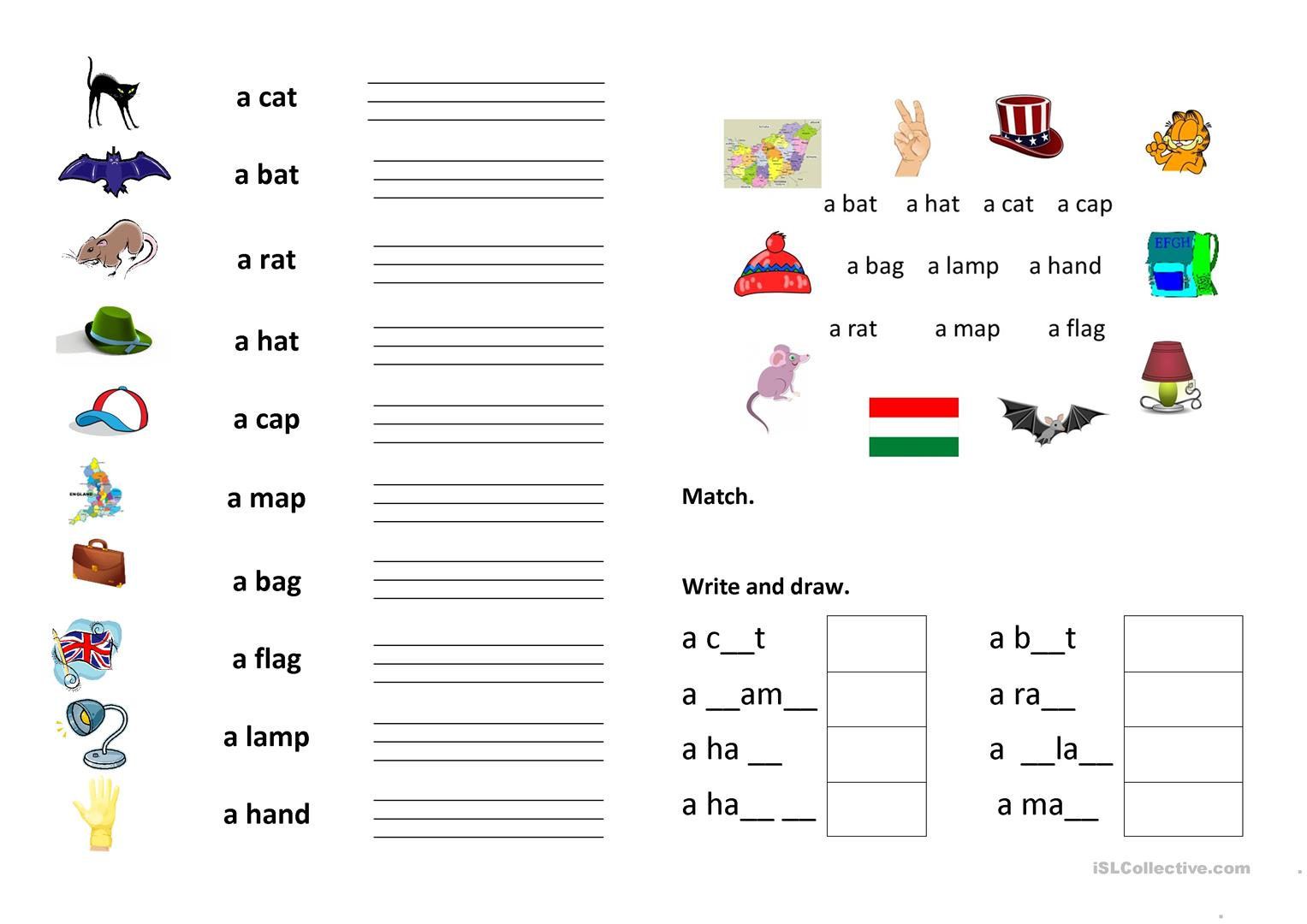Writing the first words - English ESL Worksheets