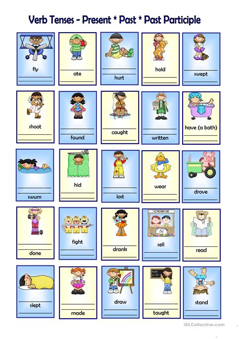 Verb Tenses Presentpastpast Participle Worksheet Free Esl