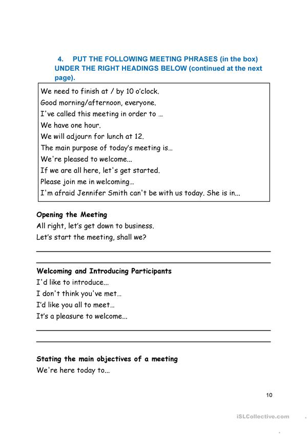 Business meeting documents and meeting phrases
