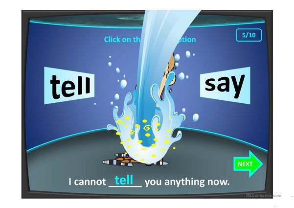 Don't get wet. SAY-TELL