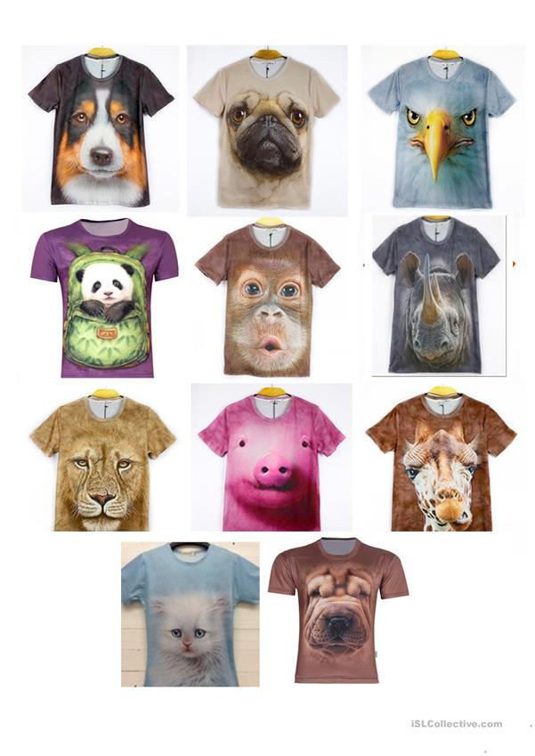 Funny 3D T-shirts with animals