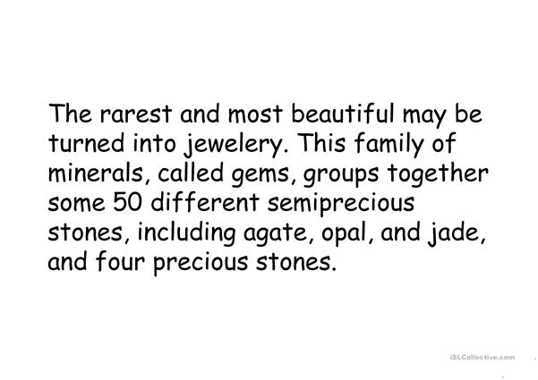 Minerals and stones