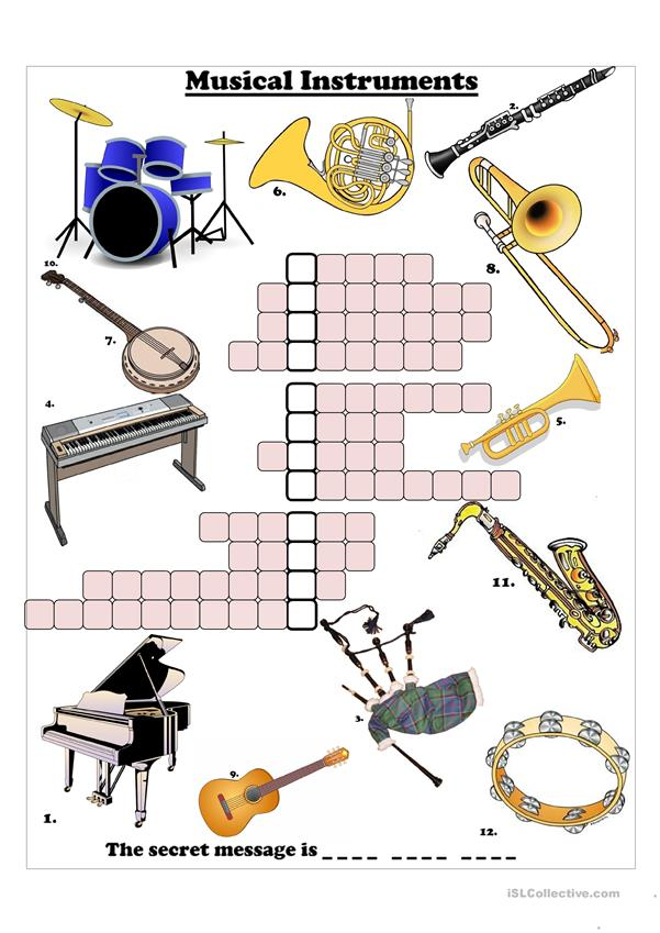 Musical Instruments Crossword