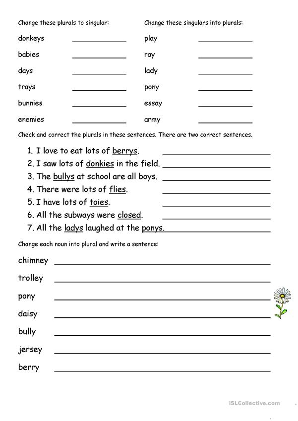 Plurals Ending In Y English Esl Worksheets For Distance Learning And Physical Classrooms