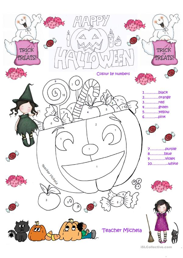 Sweets and candies for Halloween- colour by numbers