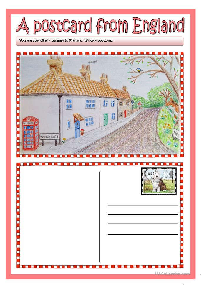 A Postcard From England Worksheet