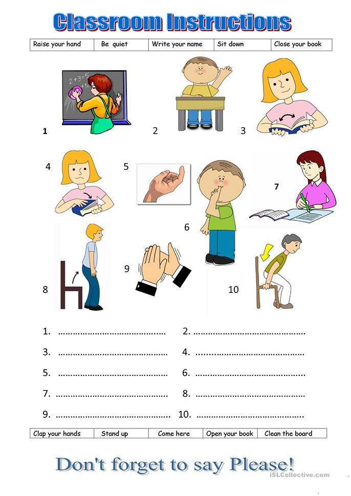 17 FREE ESL classroom instructions worksheets