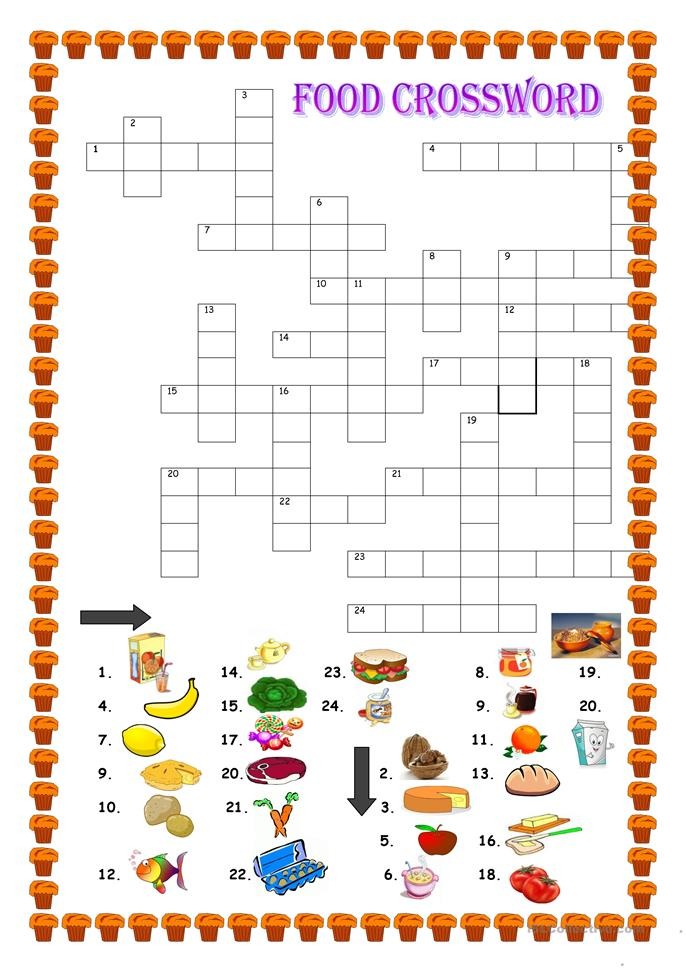 Food, crossword worksheet - Free ESL printable worksheets ...