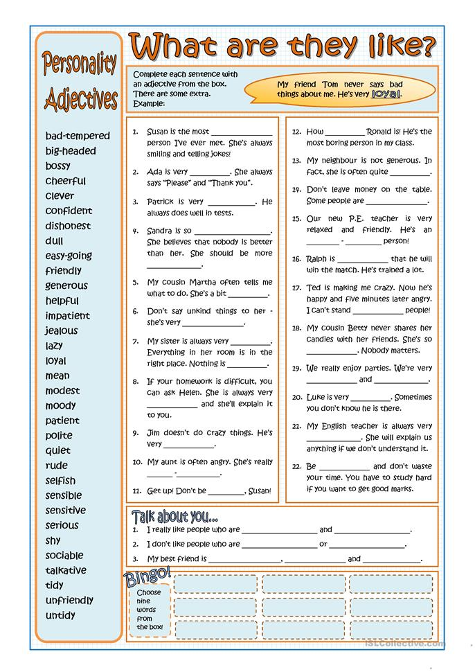 personality adjectives worksheet free esl printable worksheets made by teachers. Black Bedroom Furniture Sets. Home Design Ideas
