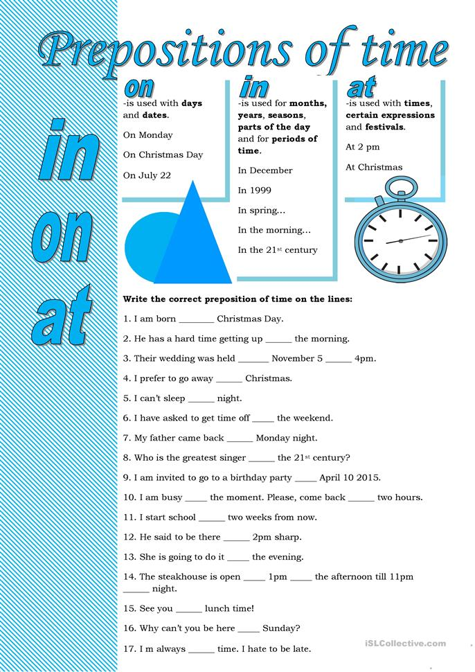 12 FREE ESL Prepositions of time worksheets for upper-intermediate ...