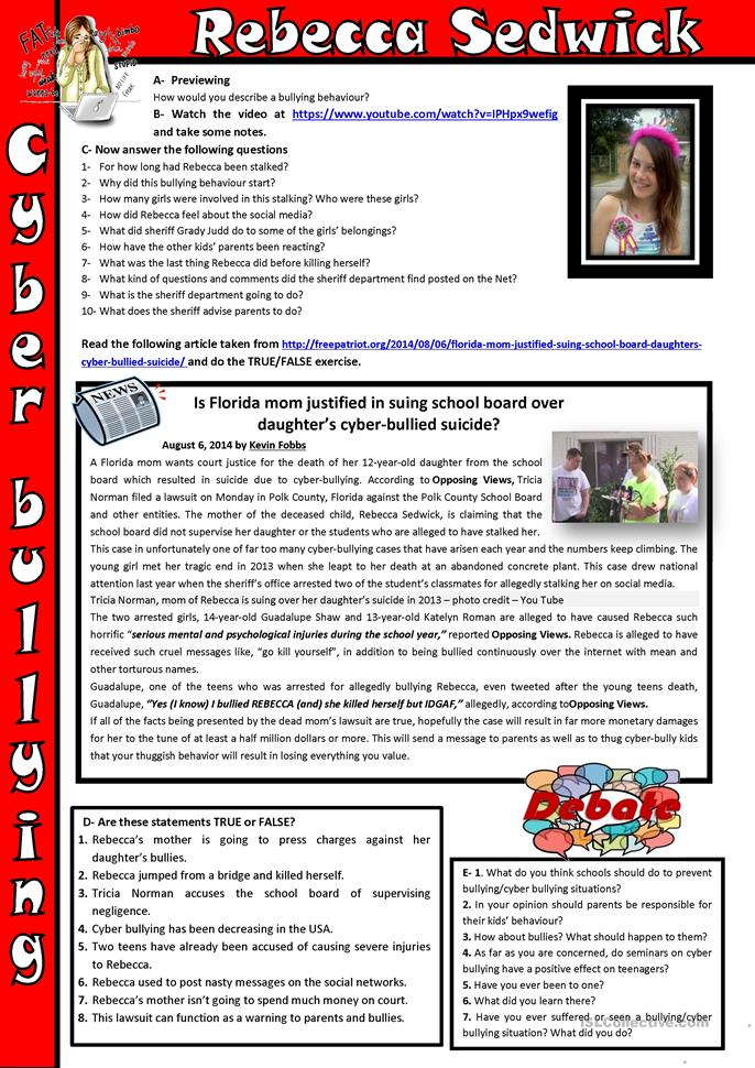 Printables Cyber Bullying Worksheets rebecca sedwick cyber bullying worksheet free esl printable worksheets made by teachers