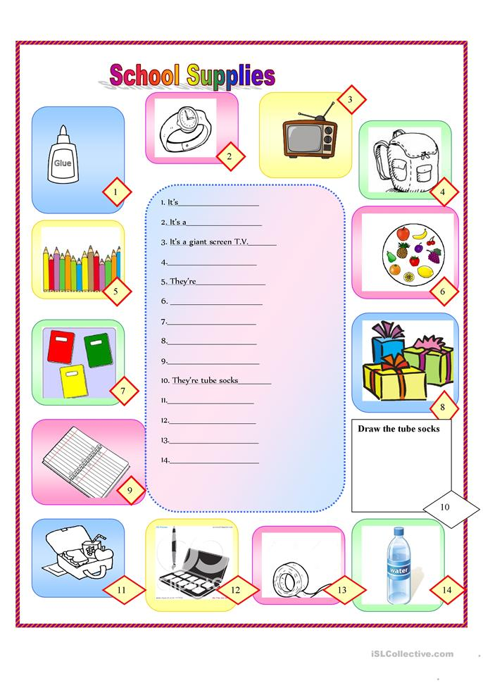 School Worksheets For Teachers : School supplies worksheet free esl printable worksheets