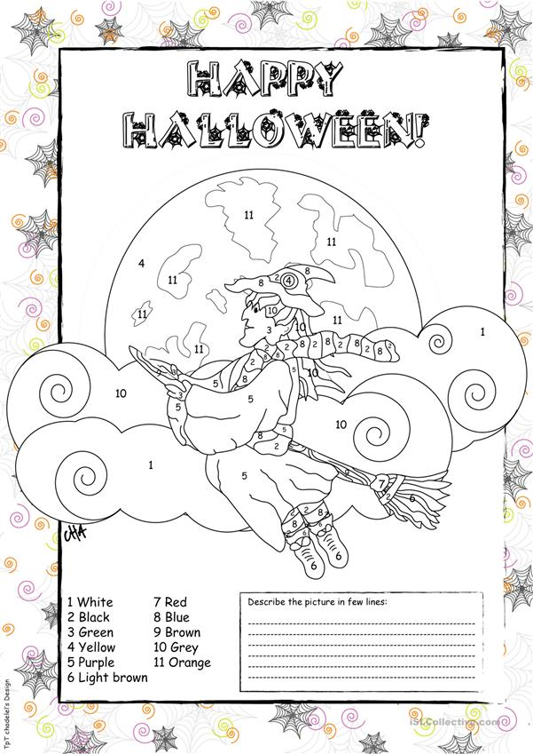 Halloween COLORING PAGE - English ESL Worksheets For Distance Learning And  Physical Classrooms