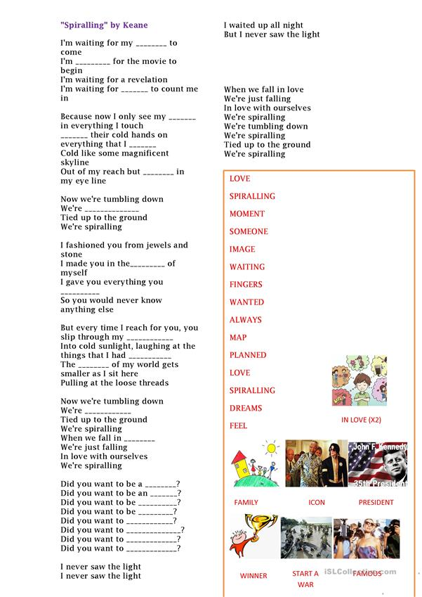Spiralling by Keane- English Practice song - English ESL