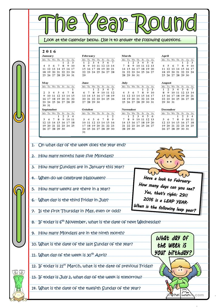 2016 - THE YEAR ROUND worksheet - Free ESL printable worksheets made ...