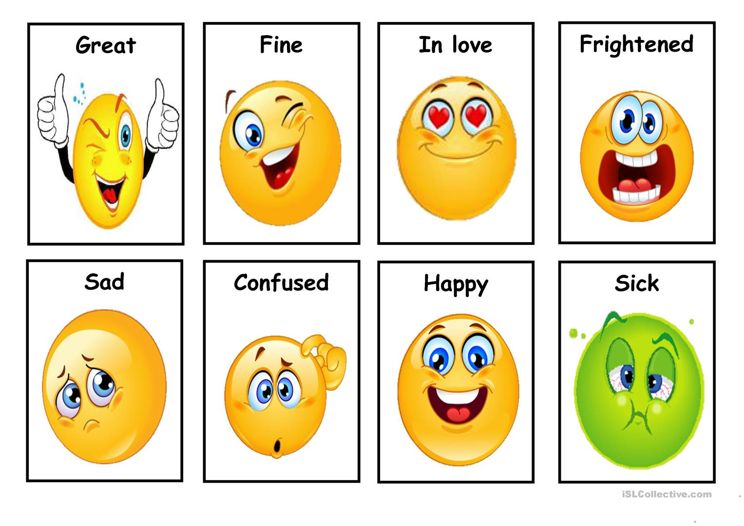 image about Feelings Cards Printable titled Inner thoughts - Playing cards (fastened 1) - English ESL Worksheets