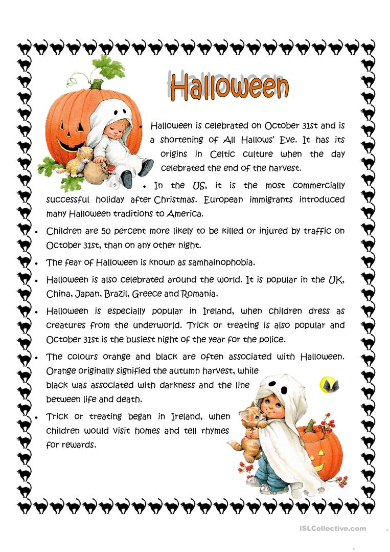 Halloween facts - English ESL Worksheets for distance learning and physical classrooms
