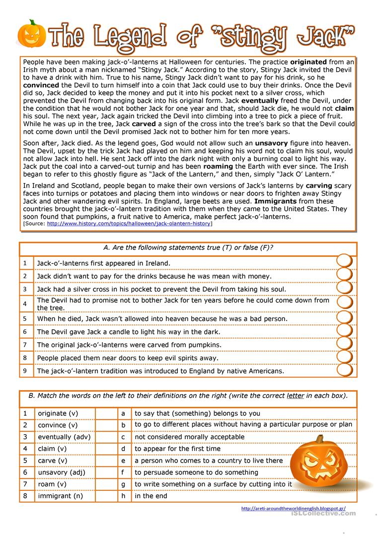 halloween history of the jack o lantern by serene a reading comprehension - Free Halloween Reading Comprehension Worksheets