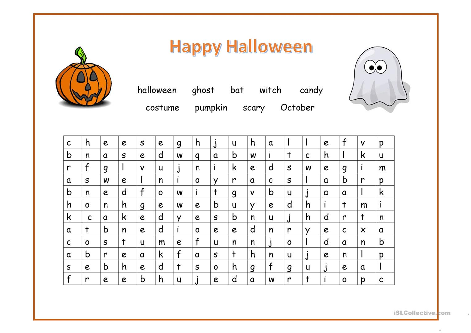 Happy Halloween Wordsearch worksheet - Free ESL printable ...