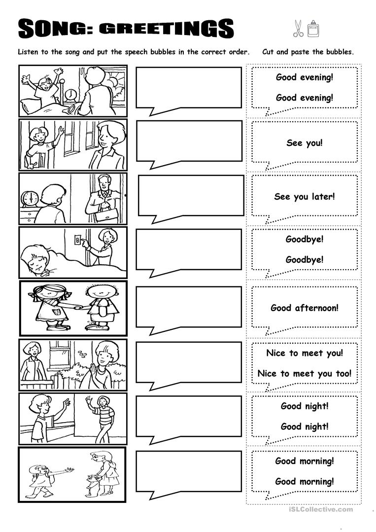 Worksheets Spanish Worksheets Greetings song greetings worksheet free esl printable worksheets made by full screen