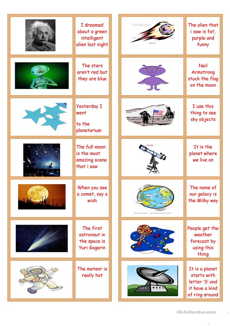 Space Object Domino Card Game English Esl Worksheets For Distance Learning And Physical Classrooms