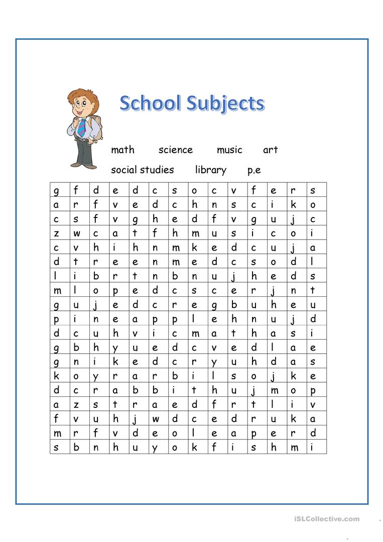 picture regarding School Word Search Printable named Matters Wordsearch - English ESL Worksheets